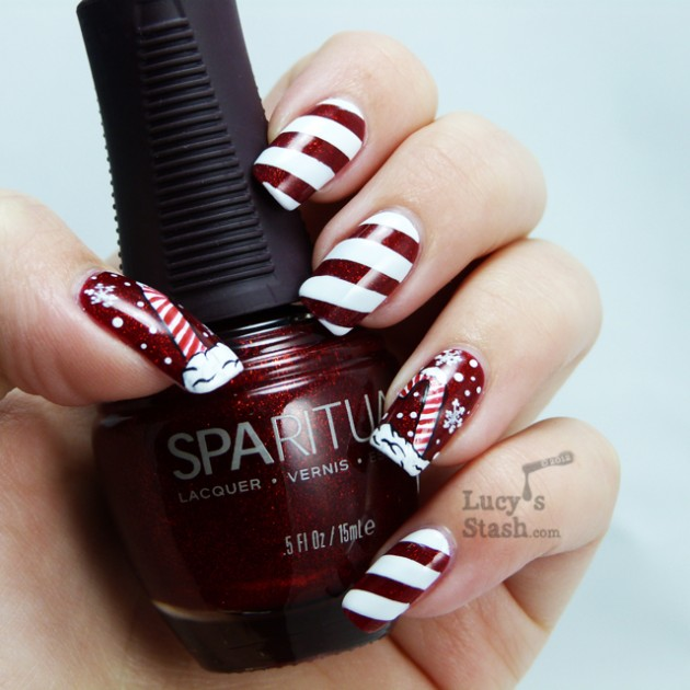 Fun And Easy Christmas Candy Cane Nail Designs