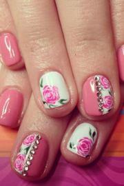 romantic rose nail art design