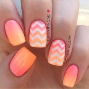 colorful and cute chevron nail