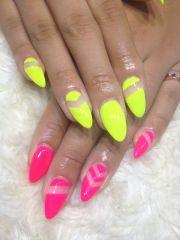 impressive neon nail design