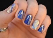 beautiful royal blue nail design