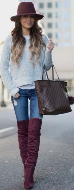 Image result for thigh high gray boots with black jeans