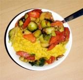 Creamy rice and sauteed veg