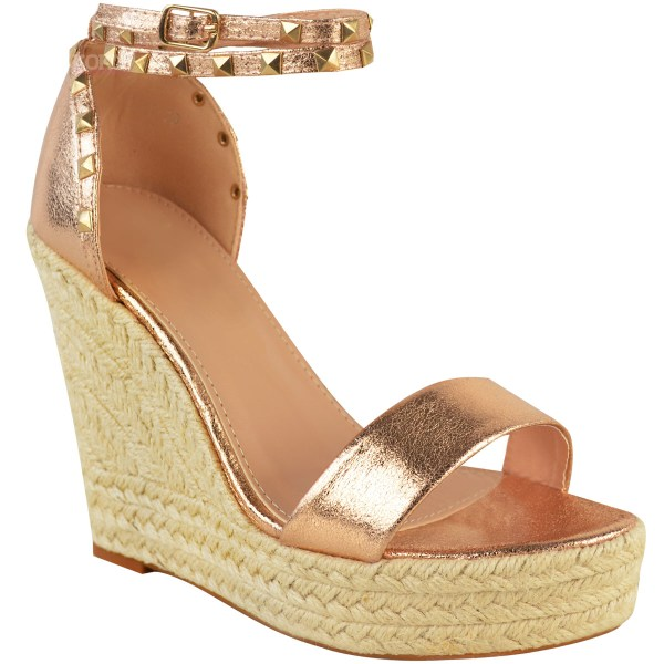 Womens Ladies Studded Esapdrille Wedges High Heel Sandals