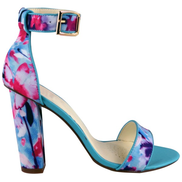 Ladies Womens Floral High Heel Sandals Strappy Ankle Cuff