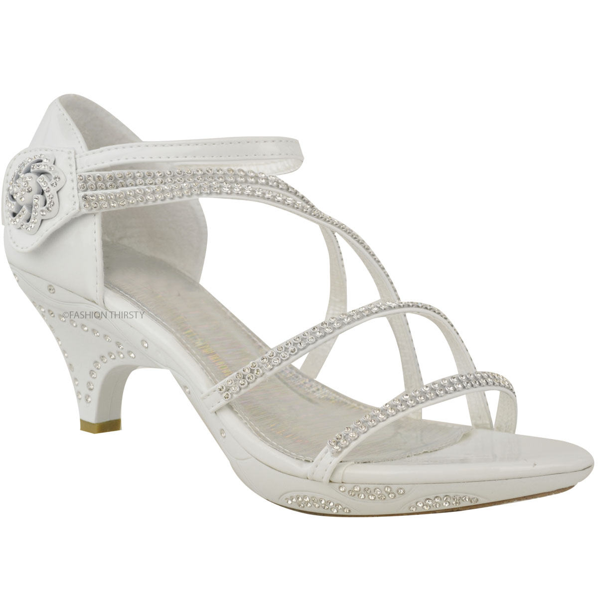 Womens Ladies Low Heel Diamante Bridal Wedding Sandals Strappy Party Shoes Size  eBay