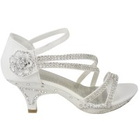 New Girls Kids Low Heel Wedding Diamante Sandals ...