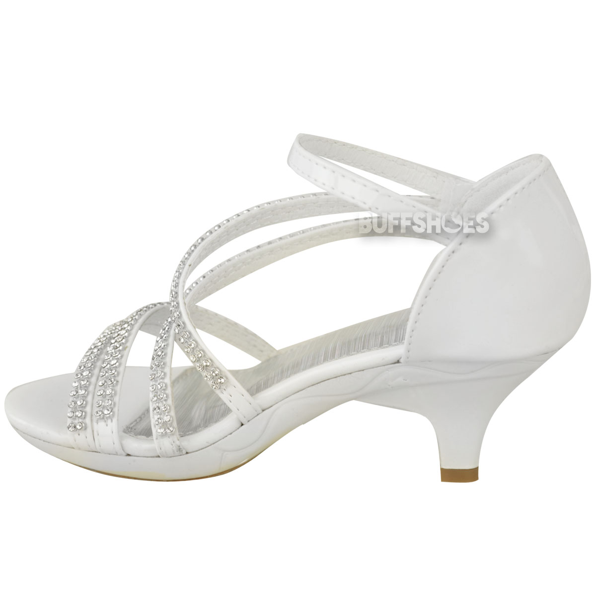 New Girls Kids Low Heel Wedding Diamante Sandals Bridesmaid Party Shoes UK Size  eBay