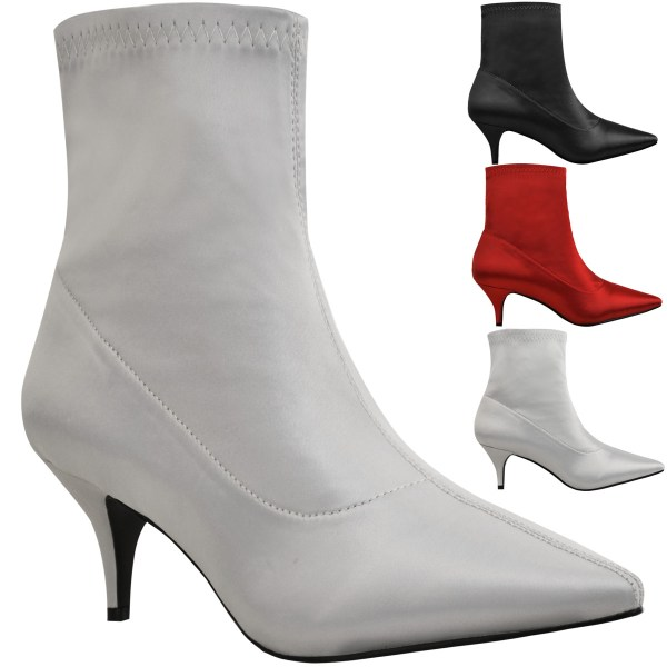 Ladies Womens Kitten Heel Ankle Boots Stretch Satin