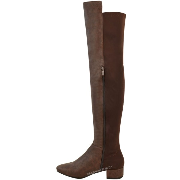 Womens Ladies Over Knee Riding Flat Boots Calf