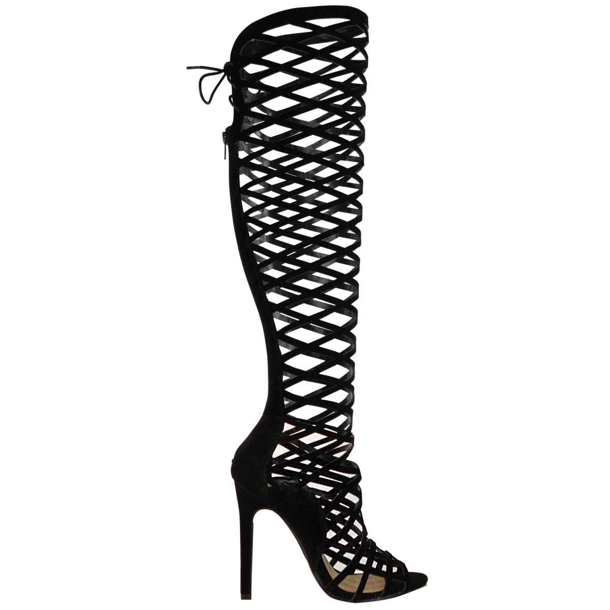 La S Womens Cut Out Lace Knee High Heel Boots Gladiator Sandals Strappy Size