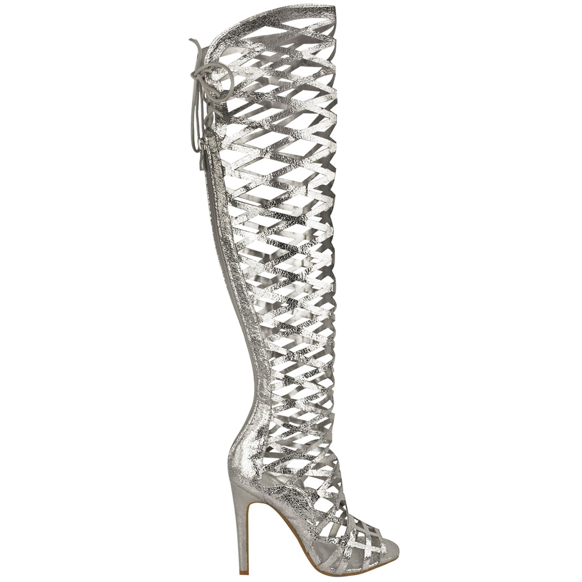 La S Womens Cut Out Lace Knee High Heel Boots Gladiator