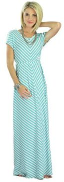 Mikarose Floor-Length Short Sleeve Maxi Dress- Makenna Teal, Size SM (4-6)