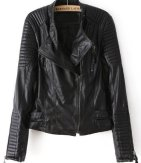 Sheinside Black Long Sleeve Zipper PU Leather Jacket