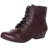 Breckelles Women's Fold Over Lace Up Oxford Boots Brown