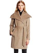 Cole Haan Women's Belted Alpaca Wool Coat, Maple Sugar,