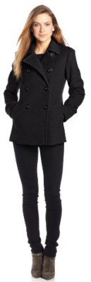 Larry Levine Women's Double Breasted Soft Pea Coat, Black