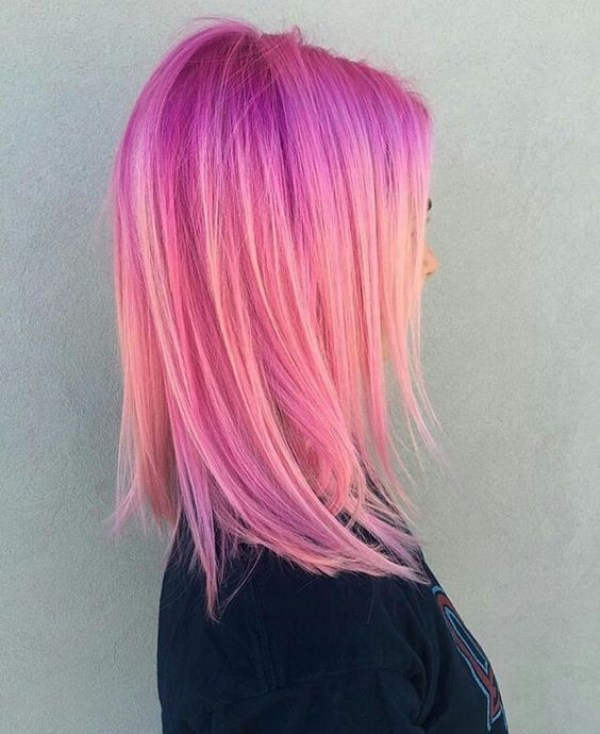 Medium hairstyle with purple and pink shadows blend women haircuts 2021