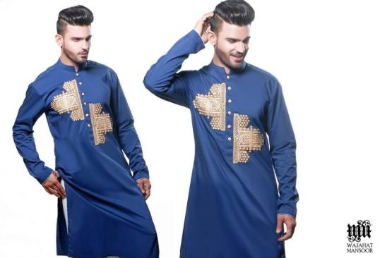 Eid Kurta Designs For Men By Wajahat Mansoor 2015 4