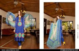 Embroidered Swiss Cotton Dresses By Rujhan 2015-16 2