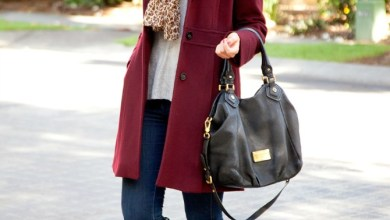 handbag with winter outfit