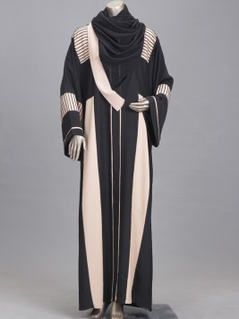 white & black abaya
