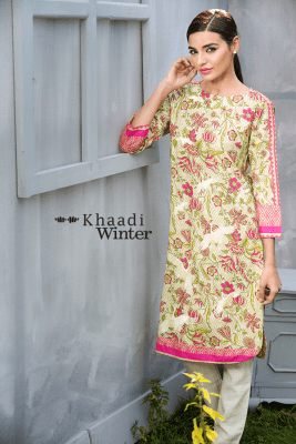 Two Piece Embroidered Polyester Kameez By Khaadi 2015 5