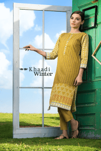 Two Piece Embroidered Polyester Kameez By Khaadi 2015 8