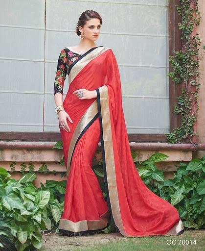 red indian saree