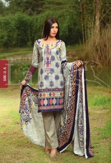 Winter Khaadi Printed Shalwar Kameez By Lala Textiles 2015-16 13