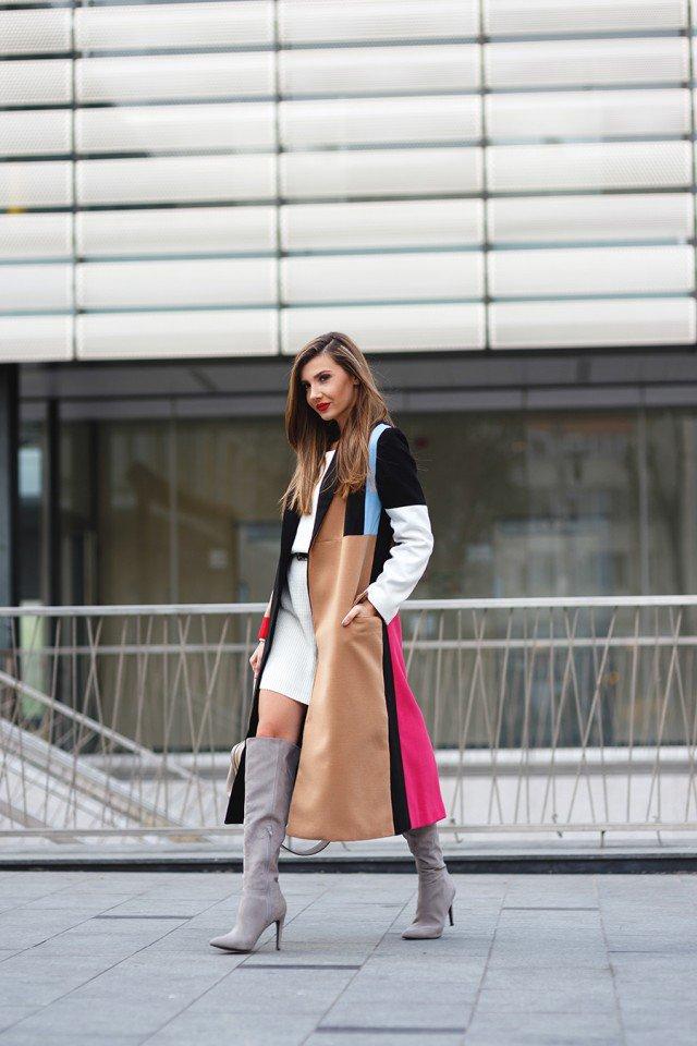 Patchwork long coat