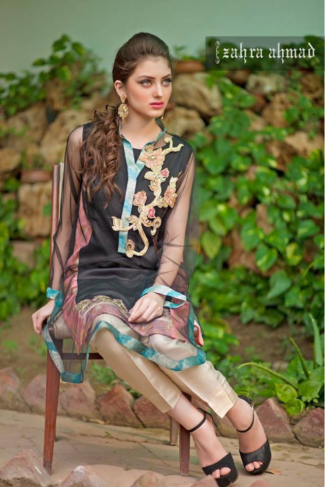 6ddba7dd6 Zahra Ahmed Luxury Essence Collection Party Wear 2015-16
