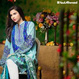 Three Piece Embroidered Lawn Gul Ahmed Collection 2016 12