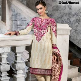 Three Piece Embroidered Lawn Gul Ahmed Collection 2016 3