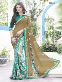 Semi Georgette Indian Saree Designs For Autumn Season