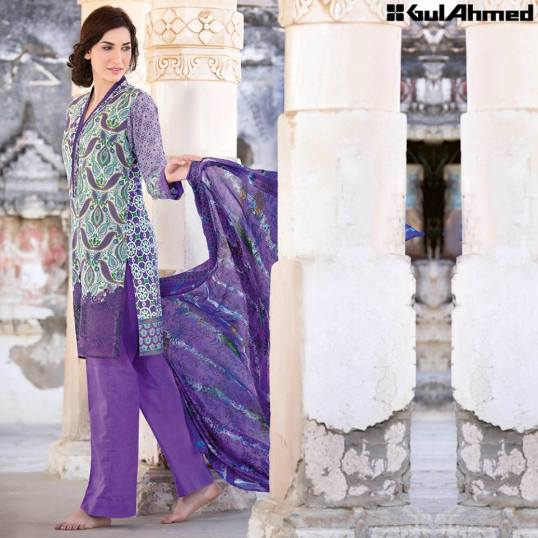 Trencia Satin Silk Eid Collection Gul Ahmed 2016 5