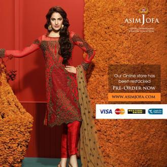 Asim Jofa Luxury Embroidered Chiffon Dresses 2016-17