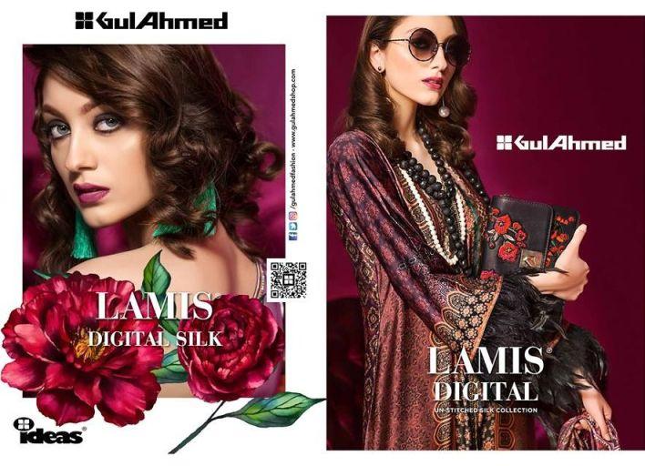 Gul Ahmed Lamis Digital Silk Dresses Collection 2018