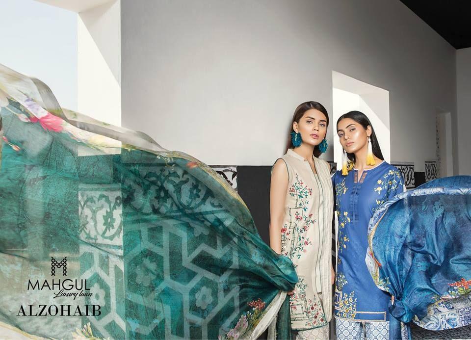 Mahgul Luxury Semi Formal Lawn Collection Al Zohaib 2018