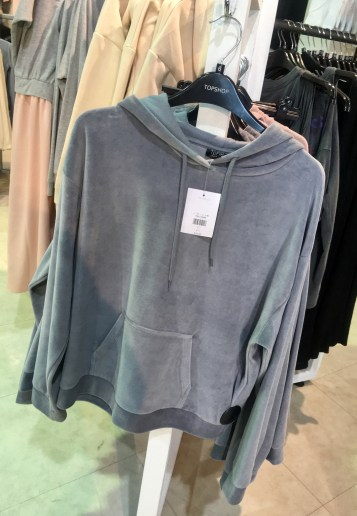 Topshop grey velour hoody fashion