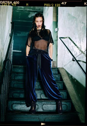 LONDUNN + Missguided velour pants