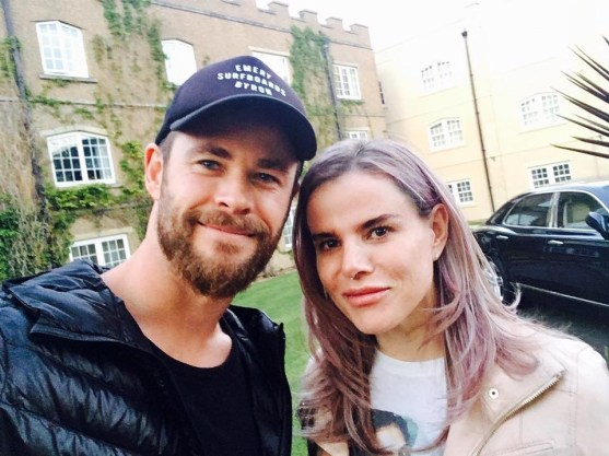 Pixie & Chris Hemsworth Avengers infinity War Wrap Day