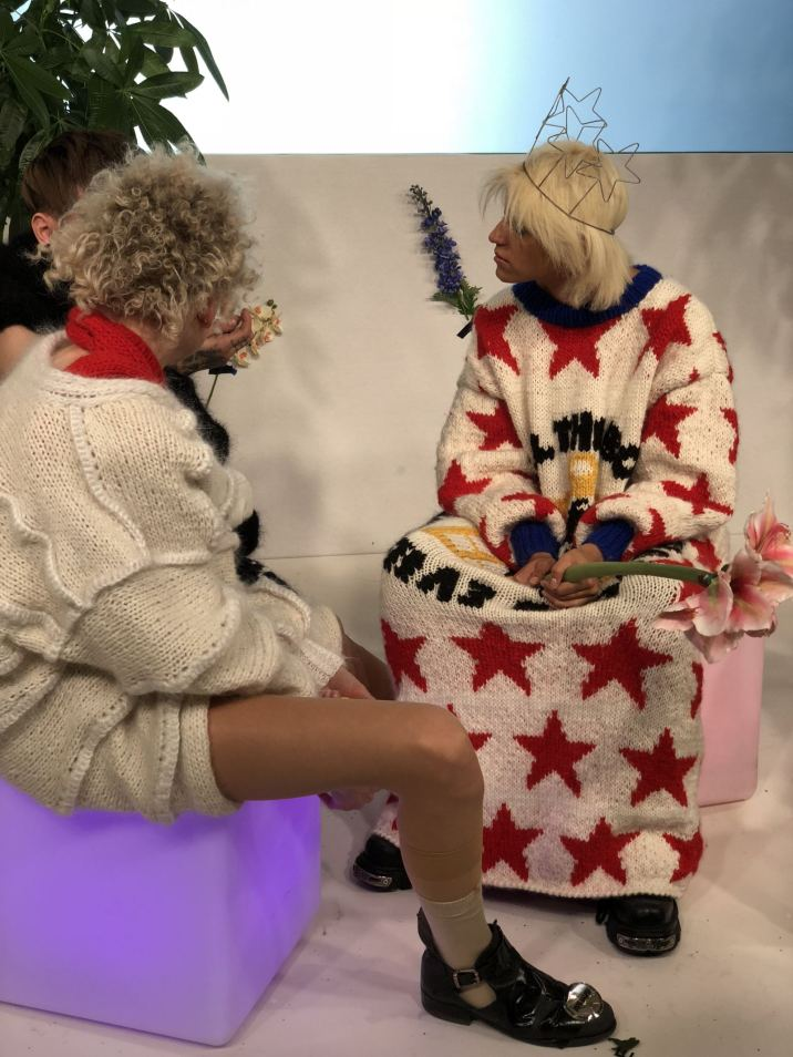 Kristel Kuslapuu FW18 Presentation at London Fashion Week Models wearing oversized sweaters and a star crown