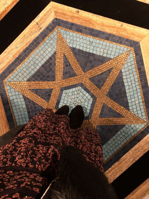 A giant tiled star on The floor of the Grand Temple of Freemason's Lodge at Holborn