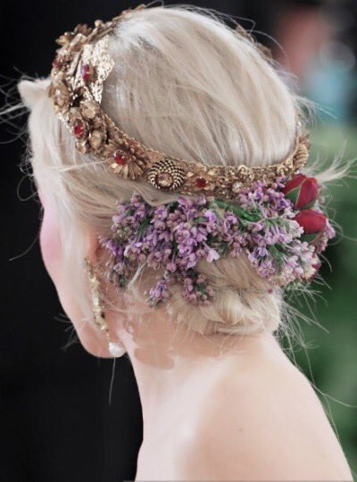 Close up shot of Emilia Clarke's hair and headdress for the 2018 met Gala