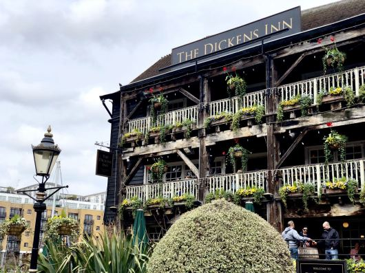 An image of The Dickens Inn Pub in london taken on the iPhone X as part of a camera trial