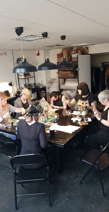 An image of a skull decorating workshop taking place at moth Studios Newcastle with class leader and taxidermist Sherene Scott. - Fashion Voyeur Blog