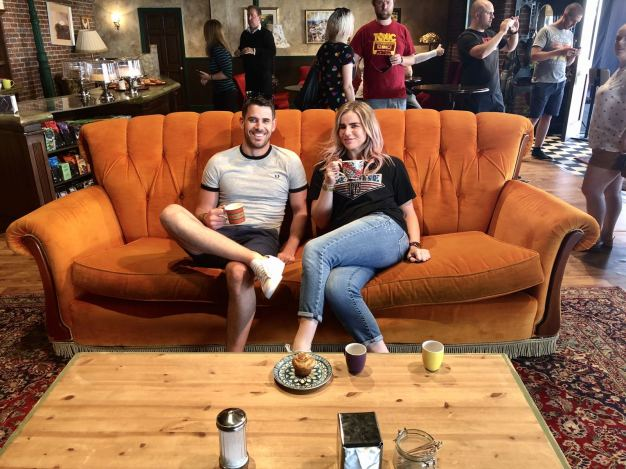 Comedy Central UK's Friends Fest 2018: Pixie Tenenbaum & her brother inside Central Perk on the famous orange sofa