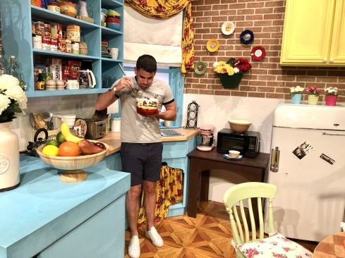 Comedy Central UK's Friends Fest 2018: Pixie Tenenbaum's brother pretending to eat the trifle that Rachel made for thanksgiving in the TV show Friends