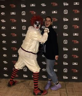 Scream Factory 2018 Kirkleatham Halloween Horror Nights, Pixie Tenenbaum with a Killer Clown. fashion Voyeur Blog
